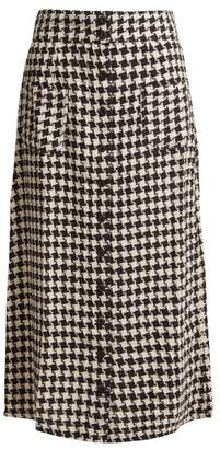 Ace&Jig Bo Houndstooth Cotton Midi Skirt - Womens - Black White