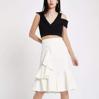 River Island Womens White midi frill skirt