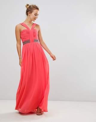 Little Mistress Halterneck Maxi Dress With Embellished Waist