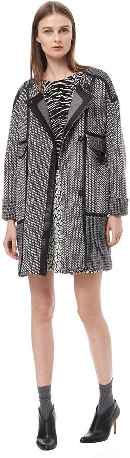 Rebecca Taylor Tweed & Leather Coat