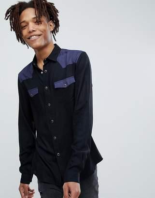 Asos Design Regular Fit Colour Block Western Shirt In Black