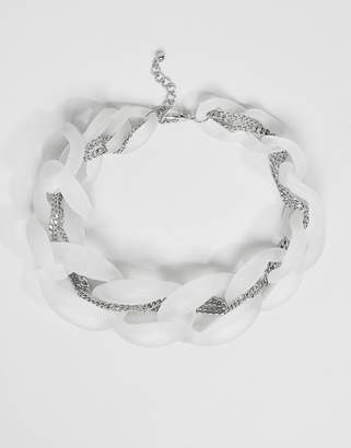Asos DESIGN necklace with frosted resin link and woven chain detail