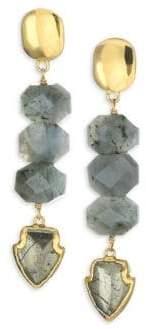 Nest Pyrite, Labradorite& 24K Goldplated Arrowhead Drop Earrings