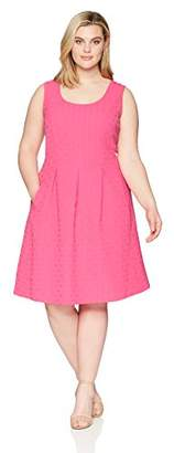 Nine West Women's Plus Size Basket Weave Fit and Flare Dress