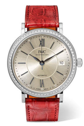 IWC SCHAFFHAUSEN - Portofino Automatic 37mm Stainless Steel, Alligator And Diamond Watch - Silver