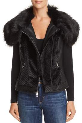 GUESS Posh Faux Fur & Faux Leather Vest