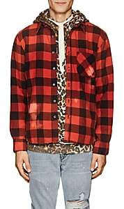 NSF Men's Distressed Checked Flannel Shirt-Red