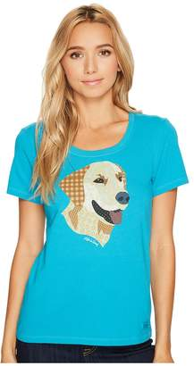 Life is Good Yellow Lab Patchwork Crusher Scoop Women's Short Sleeve Pullover