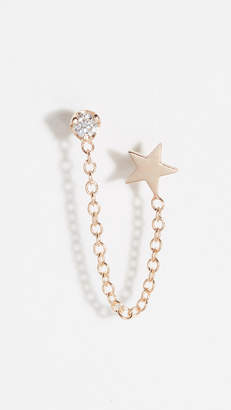 Chicco Zoe 14k Double Stud Earrings with Star & Diamond Chain