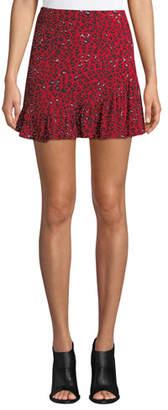 Lovers And Friends Lena Leopard-Print Flounce Short Skirt