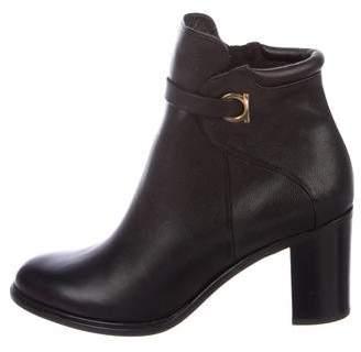 Salvatore Ferragamo Florian Round-Toe Ankle Boots