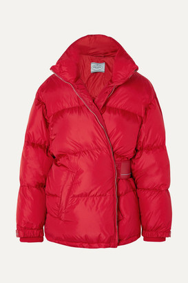 Prada Cropped Quilted Shell Down Jacket - Red