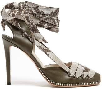 Altuzarra Python-print ribbon d'Orsay leather pumps