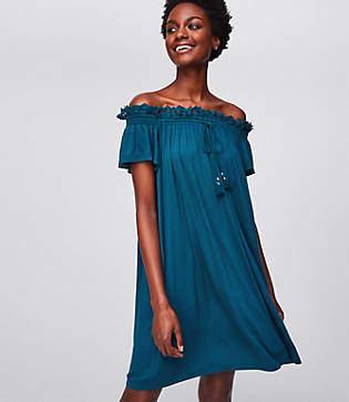 LOFT Beach Lace Trim Off the Shoulder Dress