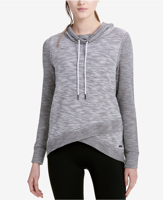 Calvin Klein Performance Cowl-Neck Colorblocked Crossover-Hem Sweater