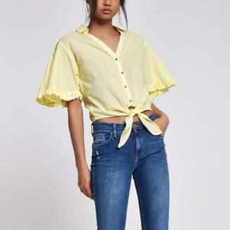 River Island Womens Yellow stripe frill tie front cropped shirt