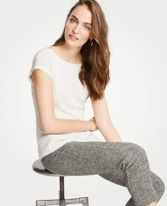 Ann Taylor Petite Ribbed Hem Short Sleeve Sweater