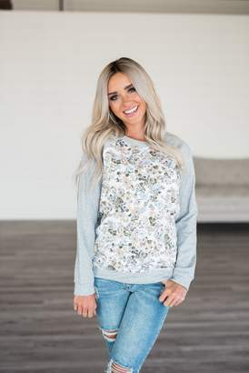 Ampersand Avenue Floral Front Pullover - Grey