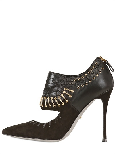 Sergio Rossi 100mm Python And Leather Staple Pumps