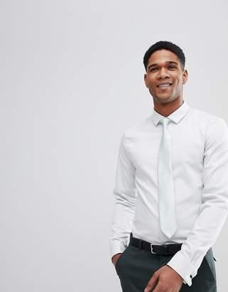 Asos Design DESIGN Wedding Slim Herringbone Shirt With Double Cuff In Mint