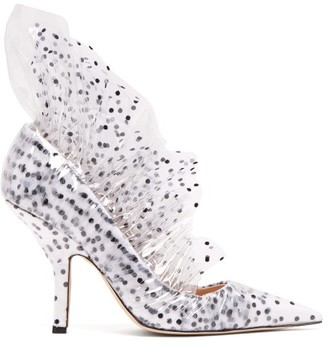 Midnight 00 - Shell Polka Dot Tulle & Pvc Pumps - Womens - White Black