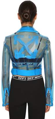 Off-White Logo Printed Cropped Pvc Biker Jacket