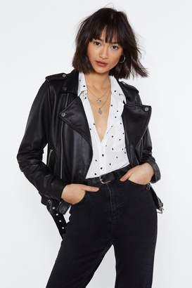 Nasty Gal Leather It on Belted Moto Jacket