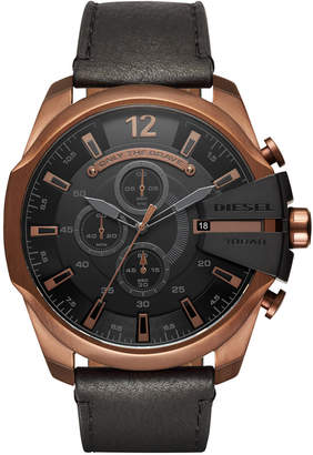 Diesel Men's Chronograph Mega Chief Black Leather Strap Watch 51mm
