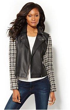 New York & Co. Bouclé-Sleeve Faux-Leather Moto Jacket