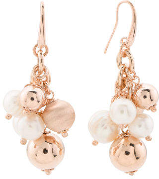 Made In Italy Bronze Cultured Pearl Satin Dangle Earrings