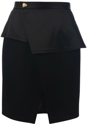 Muza Wool & Satin Knee Length Wrap Skirt