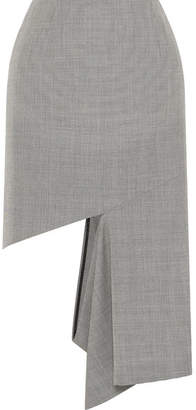 Maison Margiela Cutout Houndstooth Cotton Midi Skirt - Gray
