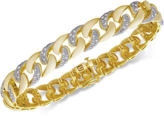 Macy's Men's Diamond Link Bracelet (1/2 ct. t.w.) in 14k Gold-Plated Sterling Silver