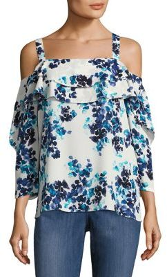 NYDJ Printed Cold-Shoulder Top $98 thestylecure.com