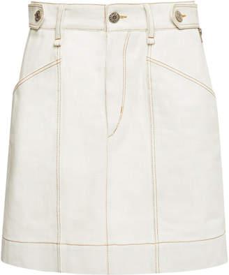 Isabel Marant Gayle High-Rise White-Denim Skirt