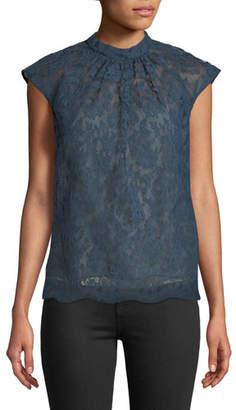 Erdem Iona Cap-Sleeve Lace Top