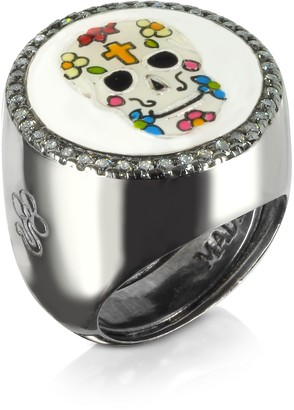 Azhar Calavera Skull Rhodium Plated Sterling Silver Adjustable Ring w/White Cubic Zirconia
