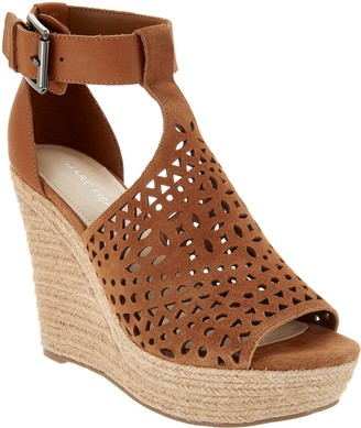 Marc Fisher Perforated Suede Wedges -Hasina