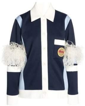 Miu Miu Women's Techno Jersey Feather Detail Jacket - Blue - Size 38 (4)