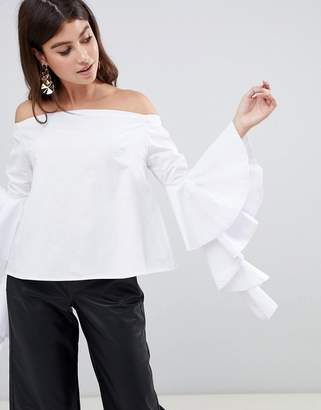 Rare London statement sleeve bardot blouse