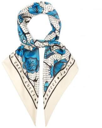 Gucci Arles Watercolour Floral Print Silk Twill Scarf - Womens - Blue