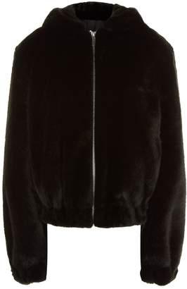 Helmut Lang Hooded Faux Fur Bomber Jacket