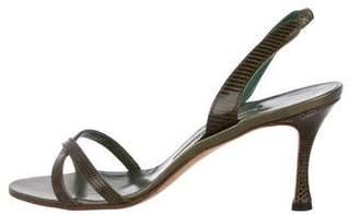 Manolo Blahnik Lizard Skin Strap Sandals