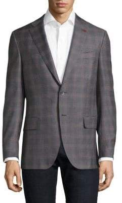Isaia Slim-Fit Windowpane Bouclé Wool Sportcoat