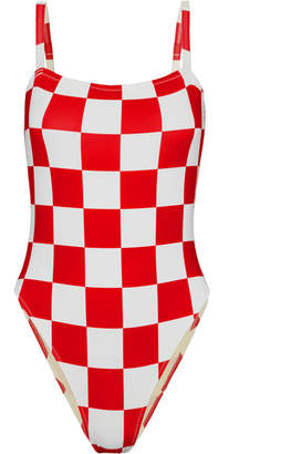 Solid & Striped + Re/done The Malibu Checked Swimsuit - Red