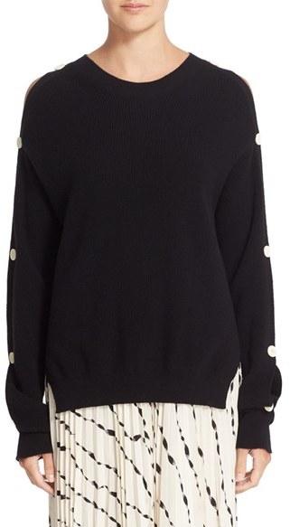 Helmut LangWomen's Helmut Lang Button Sleeve Cotton & Cashmere Sweater