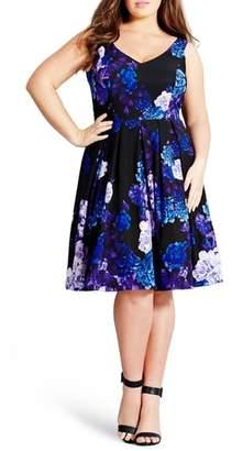 City Chic Hydrangea Print Dress