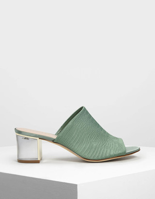 Charles & Keith Embossed Fabric Mules