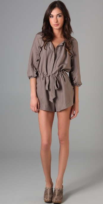 Juicy Couture Washed Silk Romper with Ruffles