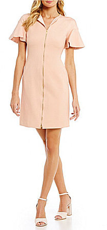 DKNY DKNY Flutter-Sleeve Zip-Front Sheath Dress